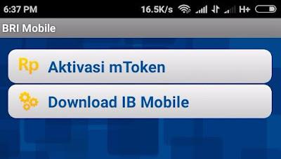 Aktivasi mToken BRI IB via Mobile SMartphone
