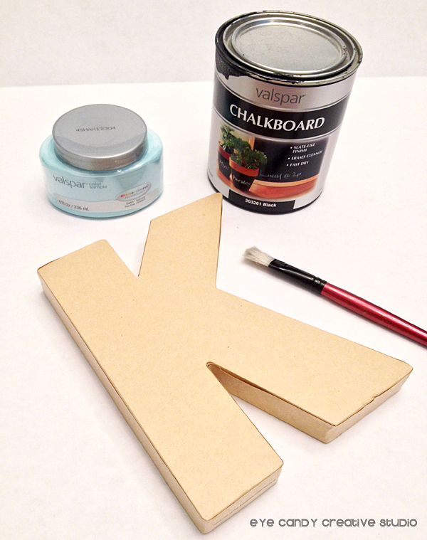 supplies for school locker initial, paint, chalkboard paint, paper mache initial
