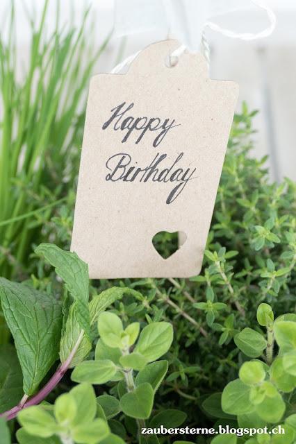 Kräuterkiste, Gartengeschenk, Happy Birthday Lettering, Betonsterne