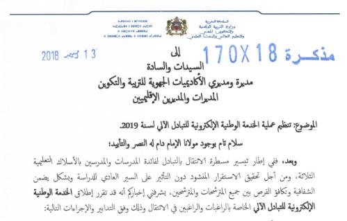 الخدمة الوطنية الإلكترونية للتبادل الآلي 2019
