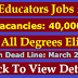 Punjab NTS Educators Recruitment 2019 Jobs Announcement & Policy | Vacancies 40,000 | All Degree Holders can Apply