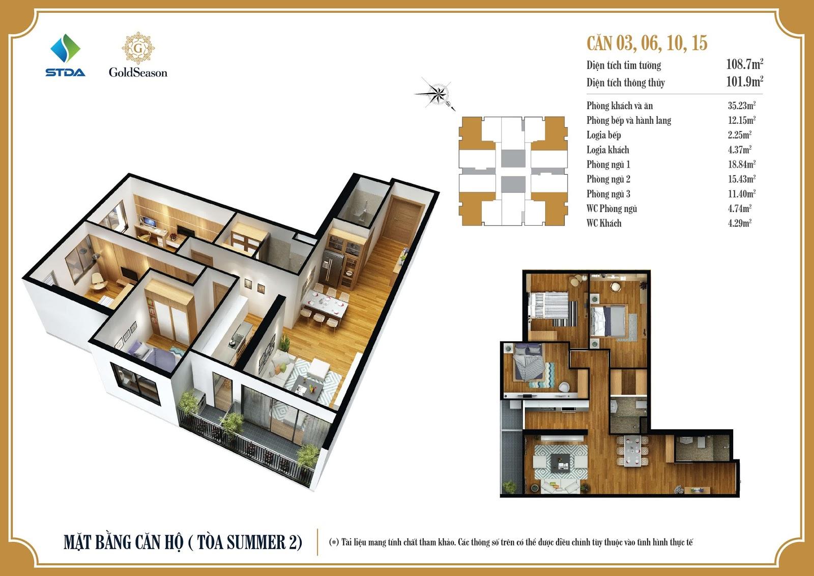 Thiết kế chi tiết mặt bằng căn hộ số 03, 06, 10 và 15 diện tích 108,7m2 - GoldSeason