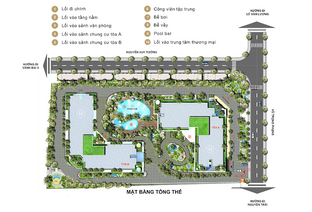 Phối cảnh tiện ích và quy hoạch toàn khu dự án Rivera Park