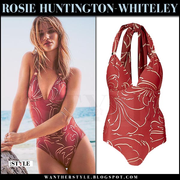 Rosie Huntington-Whiteley in burgundy swimsuit Rosie for Autograph spring 2017 swimwear