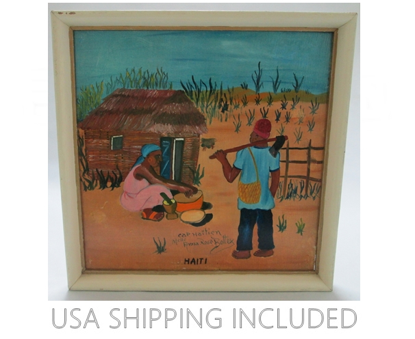 Oil on Masonite Signed Anna Rose Bottex Cap-Haitien