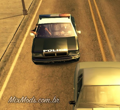 gta sa san mod cleo cops in car drive by policiais atirando carro