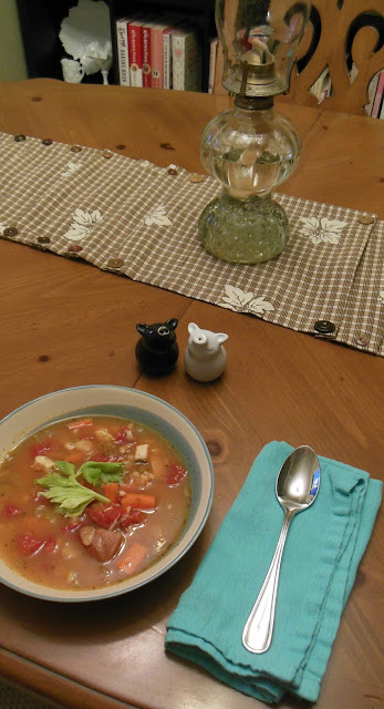 Turkey Soup with Lima Beans and Barley, frugal use of that turkey carcass!