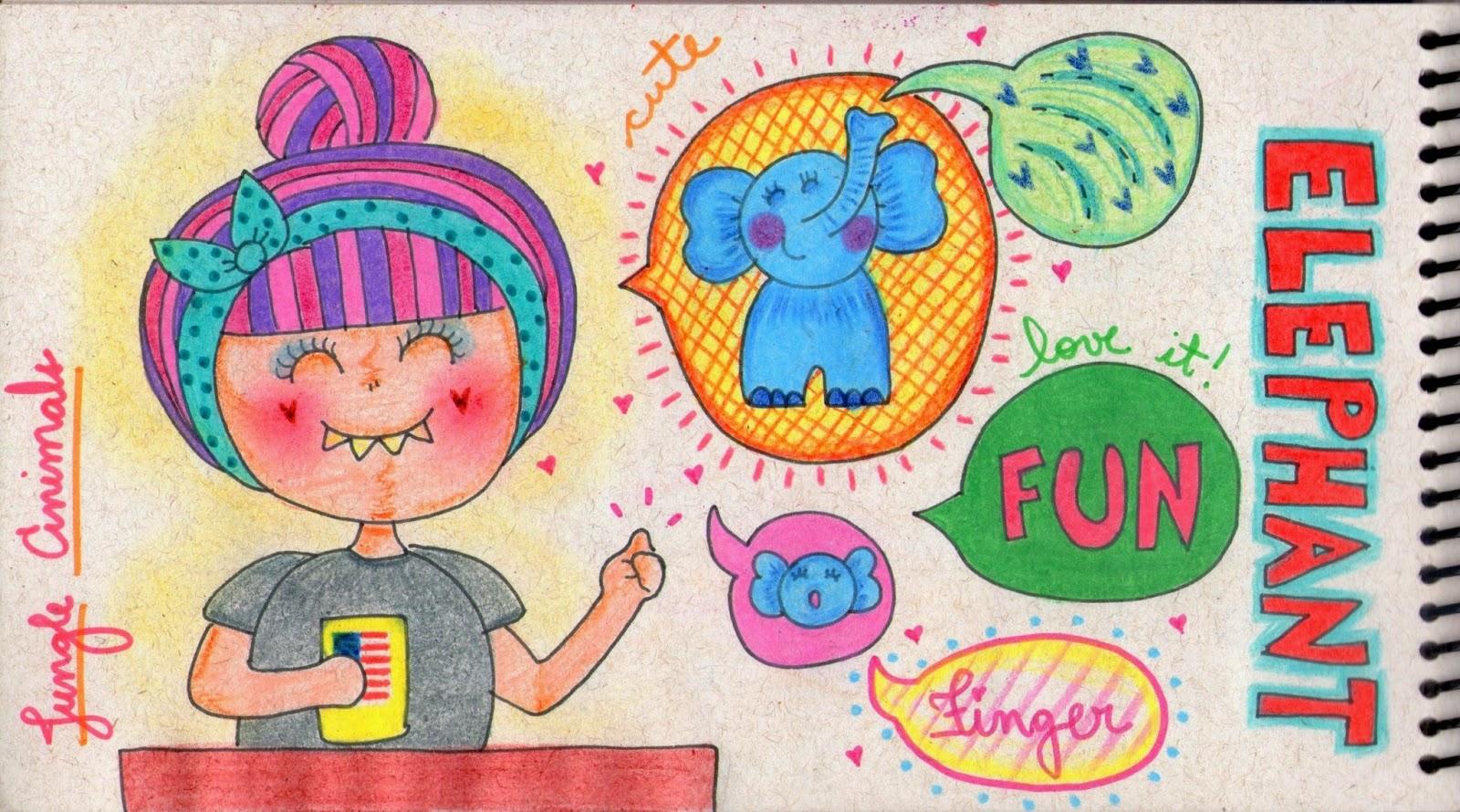 elephant, atividades de inglês, dedoche