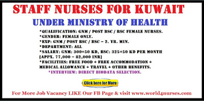 STAFF NURSES FOR KUWAIT UNDER MINISTRY OF HEALTH