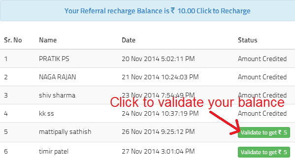 validating free recharge balance