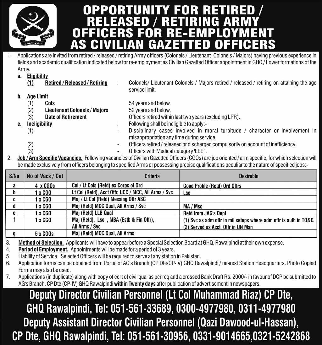 Jobs In General Headquarter GHQ Rawalpindi