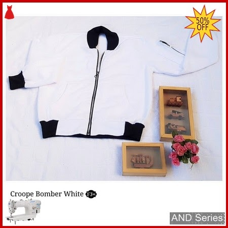 AND321 Jaket Wanita Bomber Crop Putih BMGShop