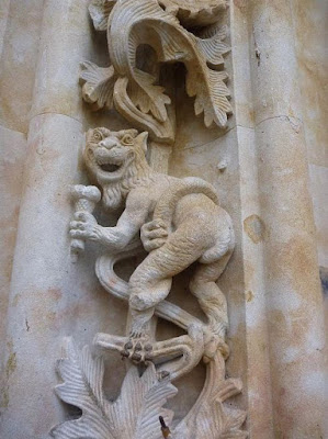 Gargoyle carved on a cathedral in Spain.