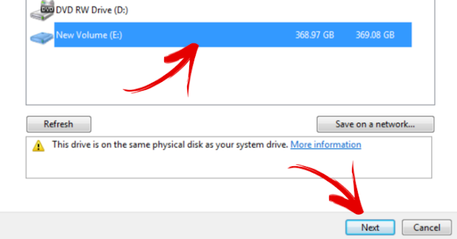 how to select backup drive
