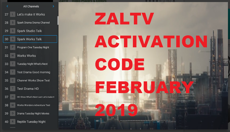 Zaltv Activation Code Update February 2019