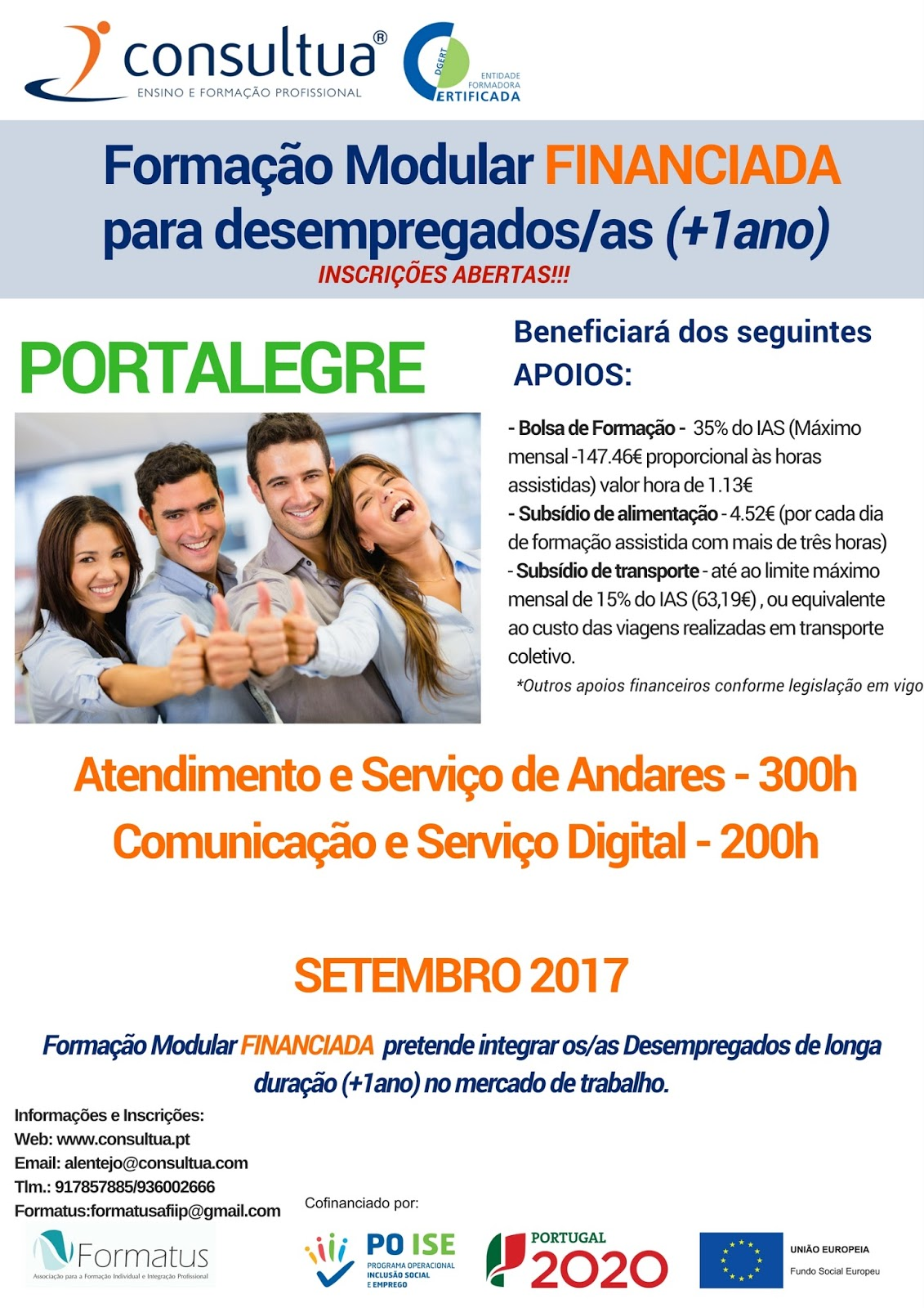 Formação Profissional Financiada para Desempregados em Portalegre