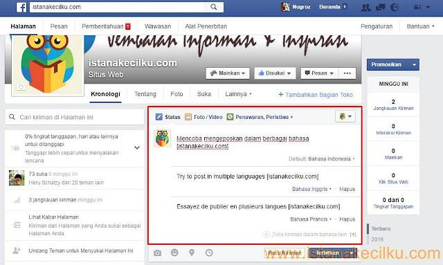 Mulai menulis posting, klik Tulis kiriman dalam bahasa lain dan kemudian klik Select untuk melihat daftar bahasa yang tersedia. Pilih bahasa yang Anda ingin tulis dalam status Anda. Ulangi proses yang sama untuk bahasa lain yang mungkin ingin Anda sertakan. Setelah Anda selesai, klik tombol Terbitkan.