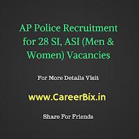 AP Police Recruitment for 28 SI, ASI (Men & Women) Vacancies