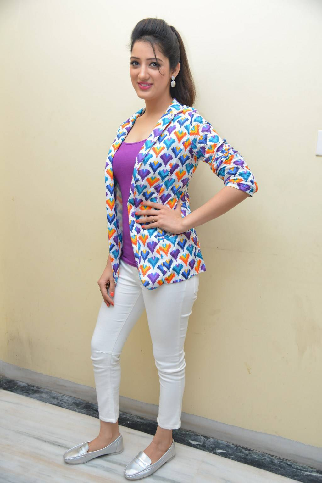 Tollywood Actress Richa Panai Hot Stills In Violet Top White Pant At Movie Interview