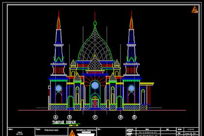 Gambar Kerja Masjid Bojonegoro Lengkap Dengan Detail Dwg