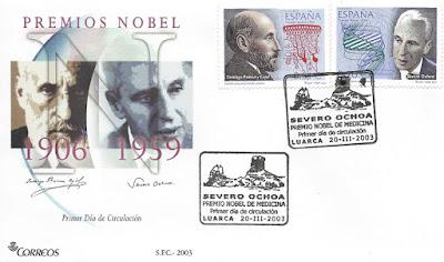 Sobre primer día en Luarca de los sellos de Severo Ochoa y Ramón y Cajal, 2003