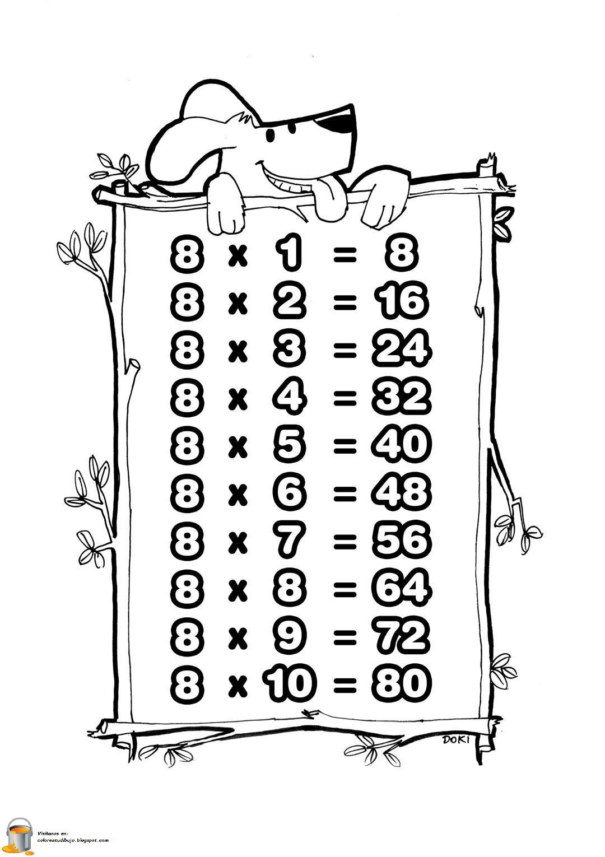 Colorea Tus Dibujos Tabla De Multiplicar Del Numero 8 Para Colorear