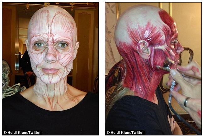 Getting there Heidi posted a shot which showed the u0027road mapu0027 of the make-up before sharing one which showed her having the make-up applied by airbrushing ...  sc 1 st  Coolfwdfood & Coolfwdfood: Her most intricate Halloween outfit yet? Heidi Klum ...