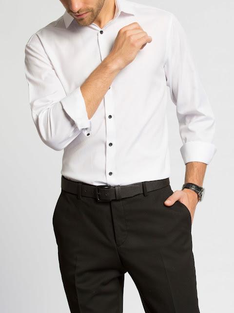 Siyah düğmeli spor gömlek