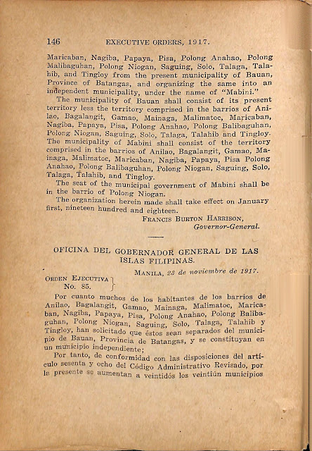 Executive Order No. 85 series of 1917 creating the Municipality of Mabini, Englsh and Spanish versions.