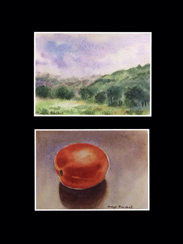 Mini water colour paintings in water colour sketchbook created by Manju Panchal