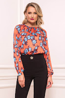 Bluza dama PrettyGirl portocalie scurta eleganta din material satinat