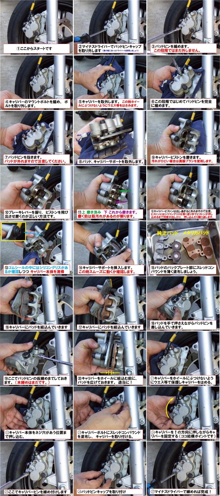 xr100モタード・ブレーキパッド交換、交換の仕方方法。工具以外にシリコングリスとスレッドコンパウンドを使用します。