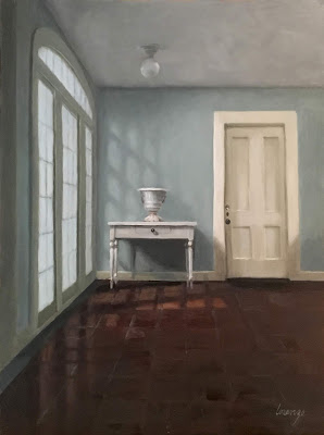 original oil painting, classical interior, representational painting