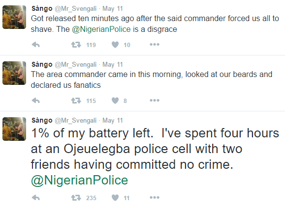 man tweets after Lagos police arrested him for eating late