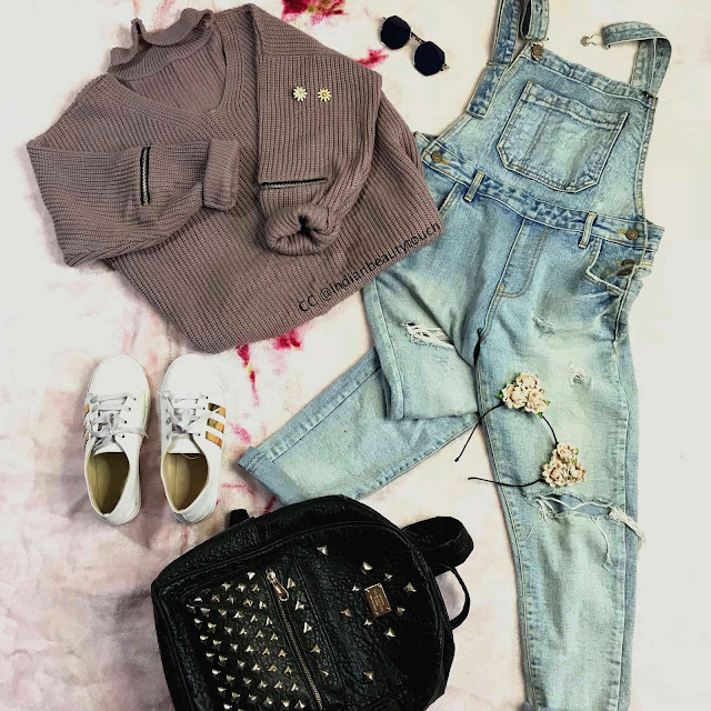 ootd, Indian OOTD, clothes, Fashion, denim, sweater, jumpsuit, Forever 21, Sarojani Nagar, Zaful, outfit ideas, indian outfit ideas