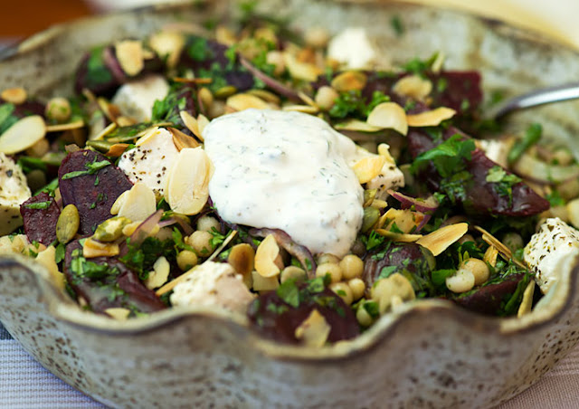 MOGHRABIEH (PEARL COUSCOUS) AND BEETROOT SALAD IN A SERVING BOWL