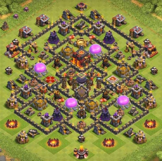 coc defense farming base level 9