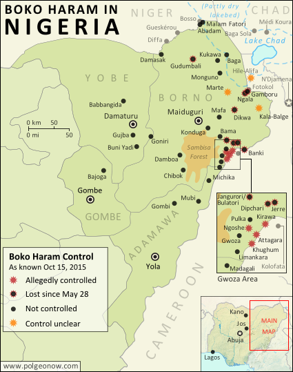 Detailed map of Boko Haram (Islamic State West Africa Province) territorial control in its war with Nigeria, marking each town reportedly under the group's control. Includes key recent locations, including Dikwa, Banki, the Sambisa Forest, and targeted areas on Lake Chad and the borders of Cameroon and Niger.