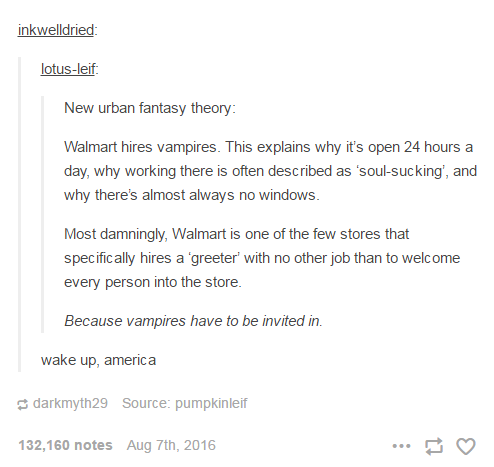 New urban fantasy theory: Walmart hires vampires