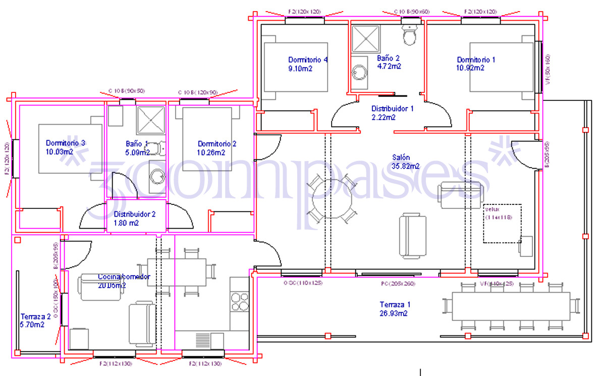 3compases proyecto de una casa de madera - Distribucion casa ...