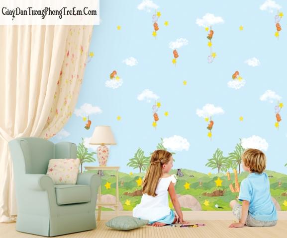 Chọn giấy dán tường thích hợp với cả bé gái và bé trai