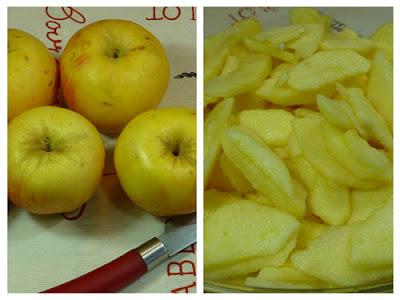 Bizcocho de manzanas. Pelado de las manzanas