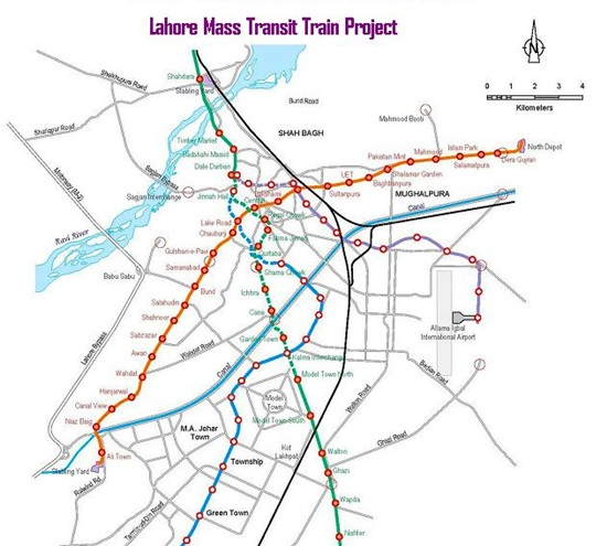 Lahore Mass Transit Project Route Map