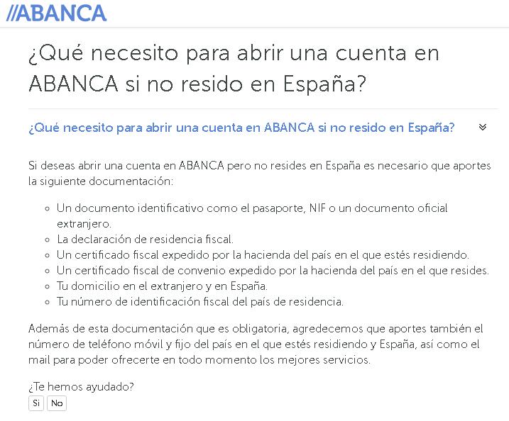 Requisitos de Abanca para abrir una cuenta bancaria en españa de no residente