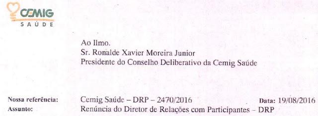 Carta de renúncia do DRP da Cemig Saúde