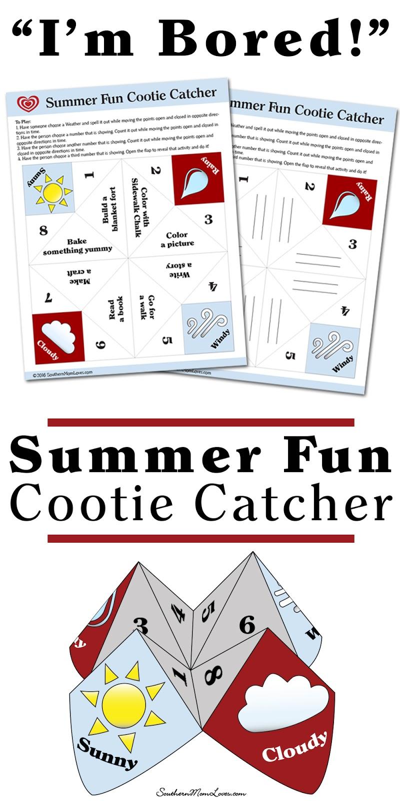 southern mom loves u0027i u0027m bored u0027 summer fun cootie catcher