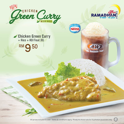 A&W Chicken Green Curry with Rice RB Float