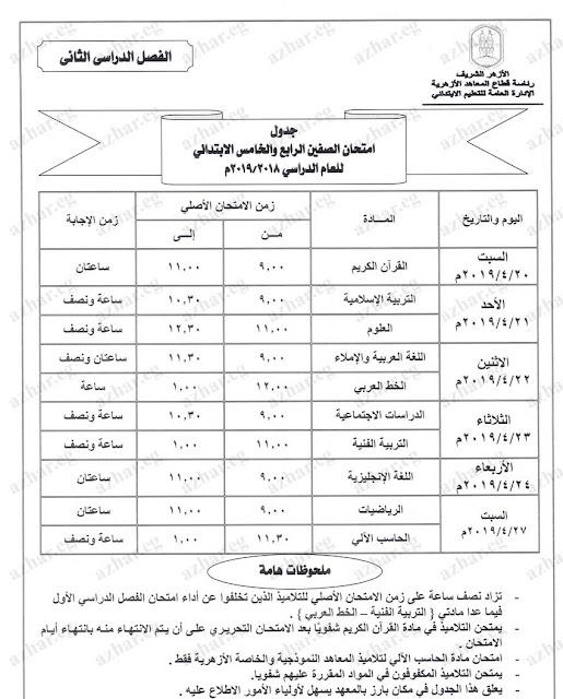 جدول امتحانات الصف السادس الابتدائى الازهرى 2019 الترم الثانى أخر العام