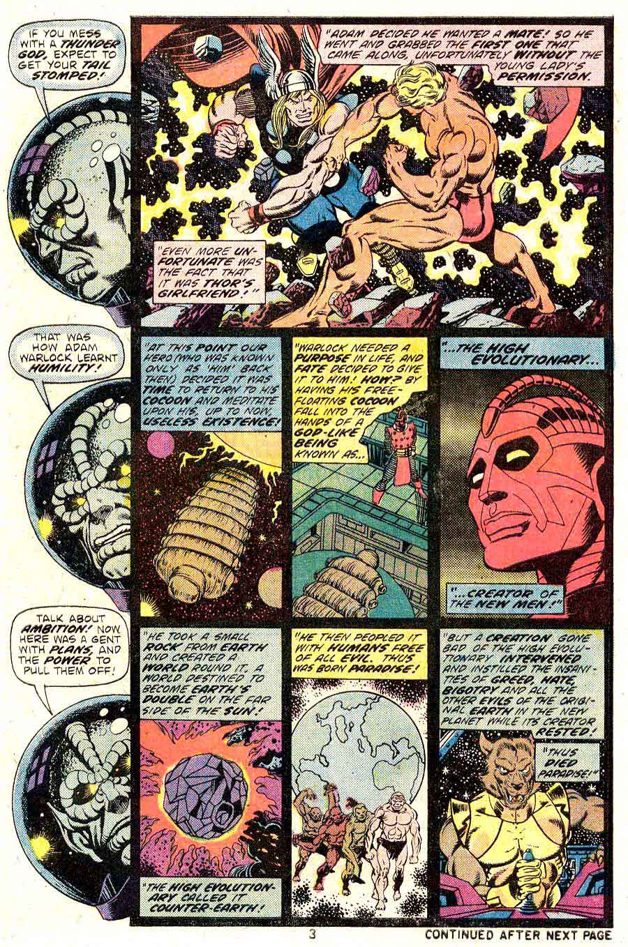 Strange Tales v1 #178 marvel warlock comic book page art by Jim Starlin