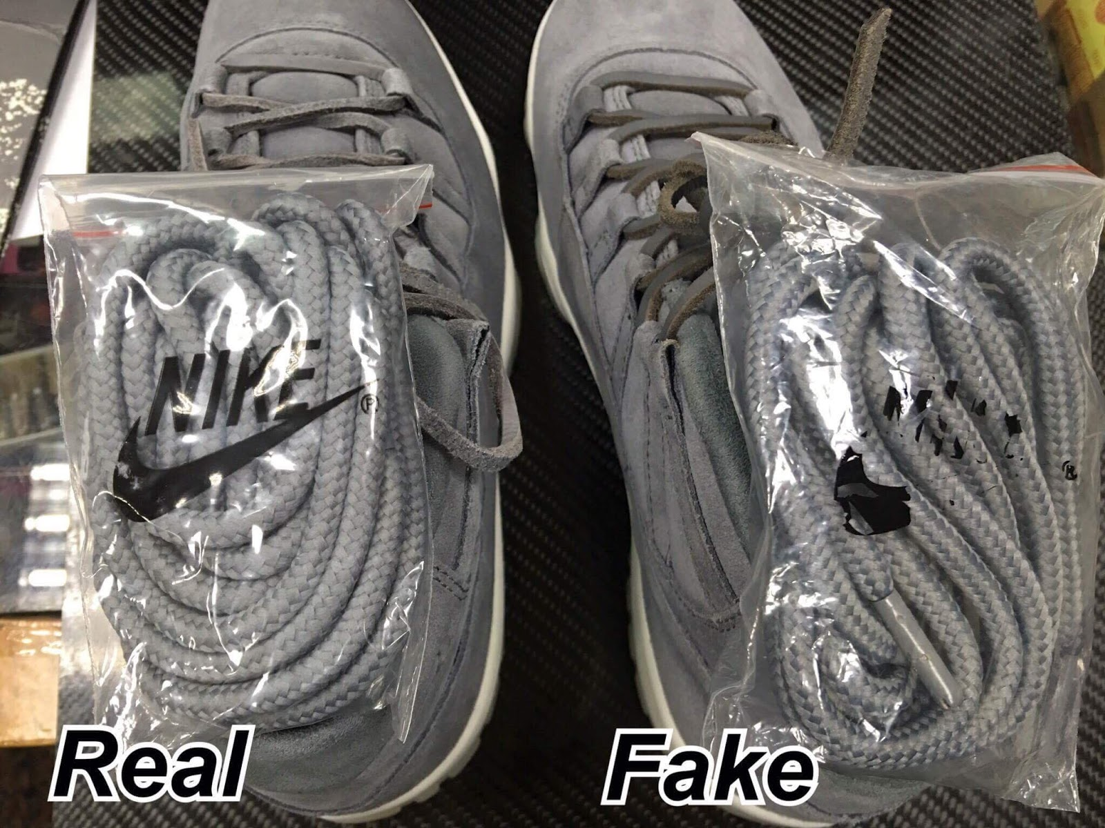 "Next To Real Retro S Fake Retro S: Sean's Blog: Real Vs Fake AIR JORDAN 11 RETRO PREM ""GREY"